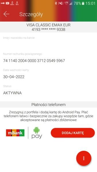 Karty VISA w usłudze Android Pay
