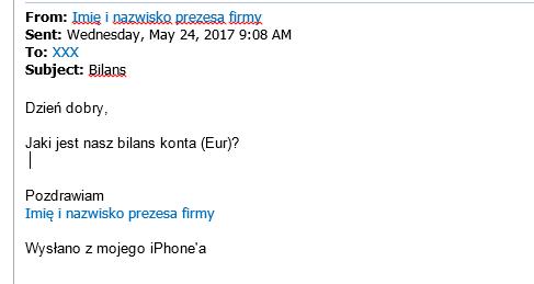 Wiadomość mailowa wysyłana w imieniu prezesów firm
