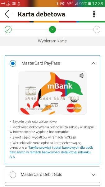 Zamówienie karty debetowej